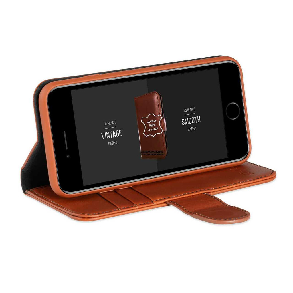 iPhone 8 Wallet Case - Premium Genuine Leather - Brown and Black