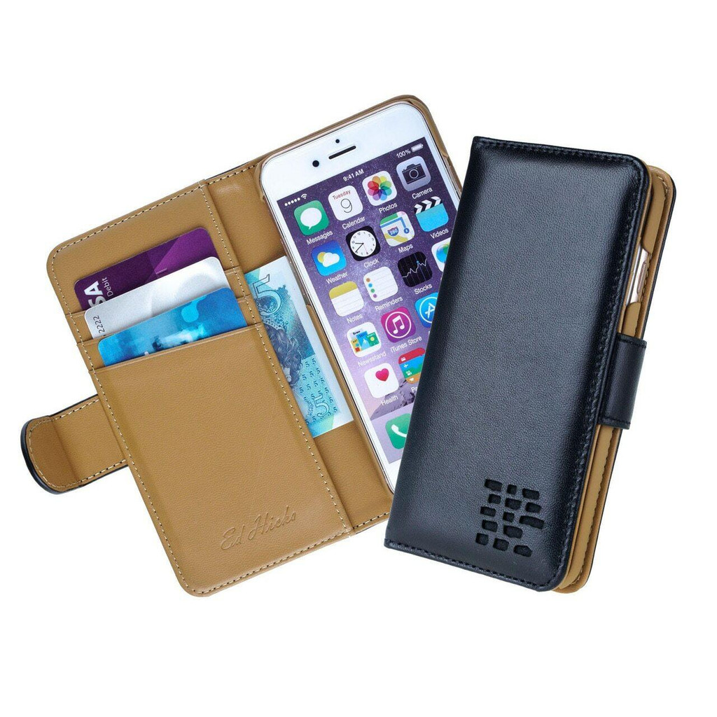 Ed Hicks iPhone SE 2020 2nd Gen Real Black Leather Wallet Phone Case with card slots