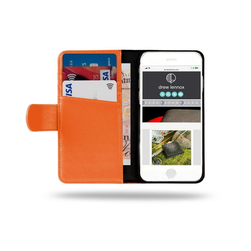 Ed Hicks iPhone SE 2020 2nd Gen Real Leather Wallet Phone Case with card slots in orange