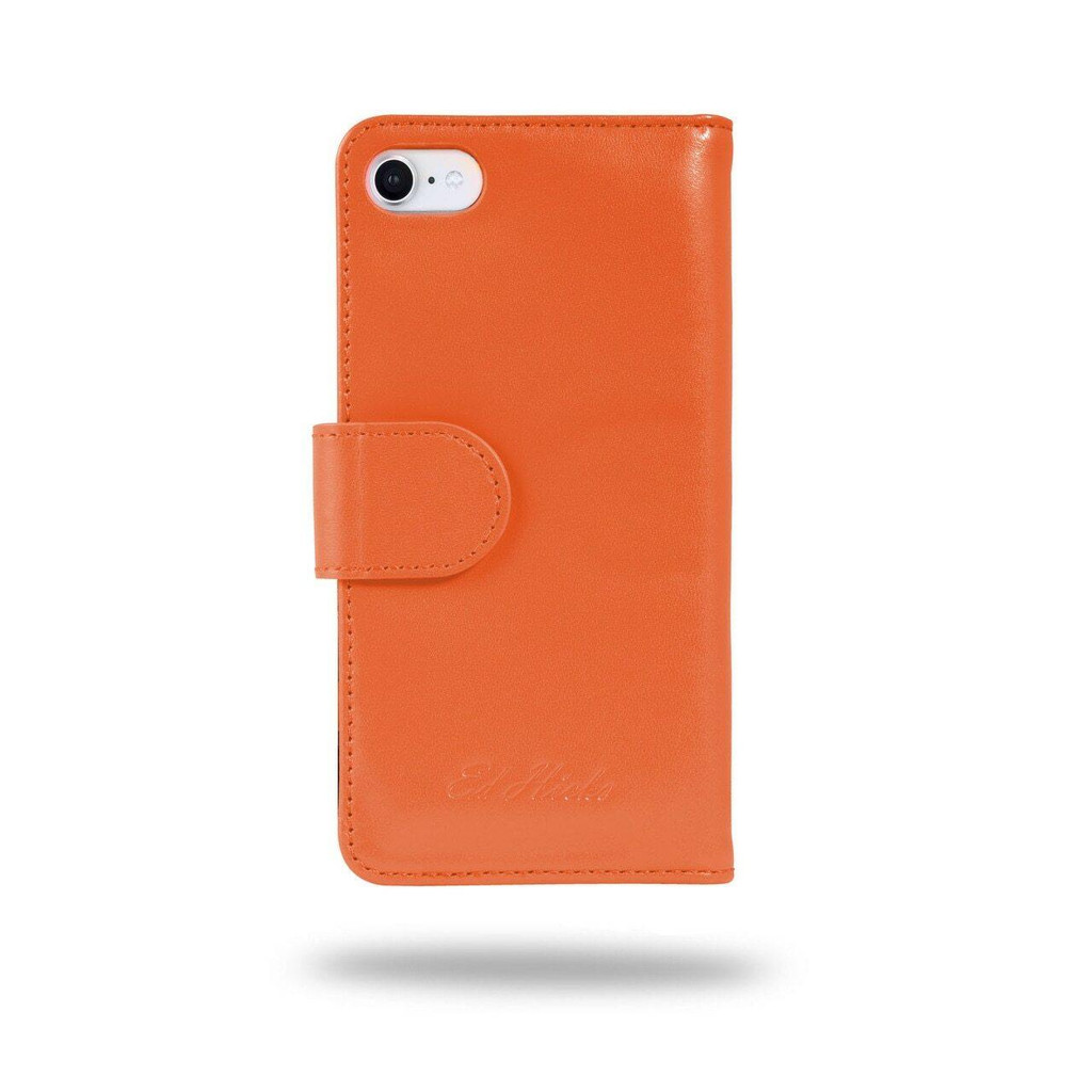 Ed Hicks Apple iPhone SE 2020 2nd Gen Real Leather Wallet Phone Case Orange