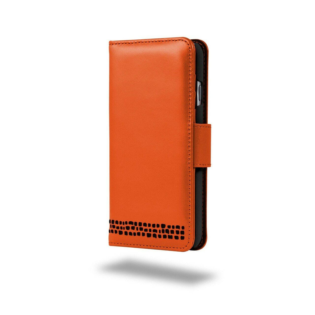 Ed Hicks iPhone SE 2020 2nd Gen Real Leather Wallet Phone Case Orange and Black