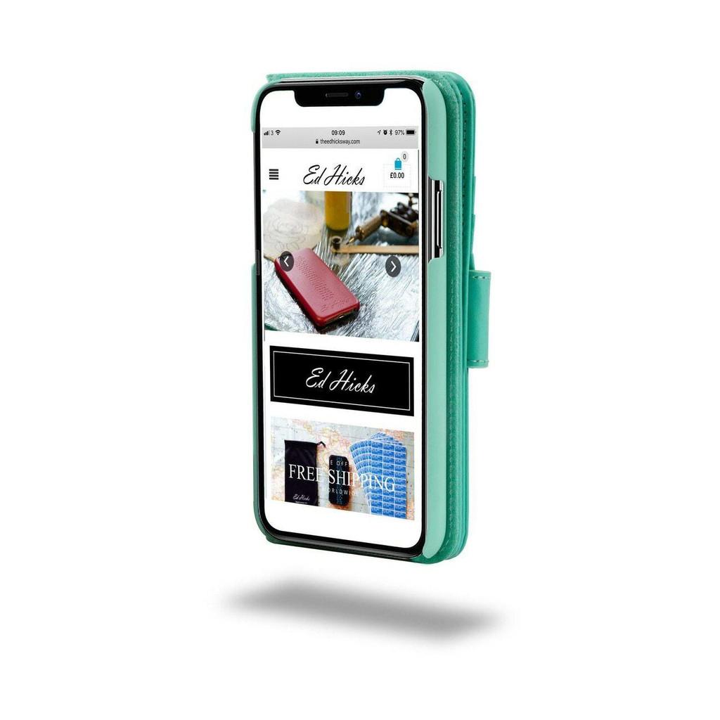 Ed Hicks iPhone SE 2020 2nd Gen Real Leather Wallet Phone Case Magnetic Flip