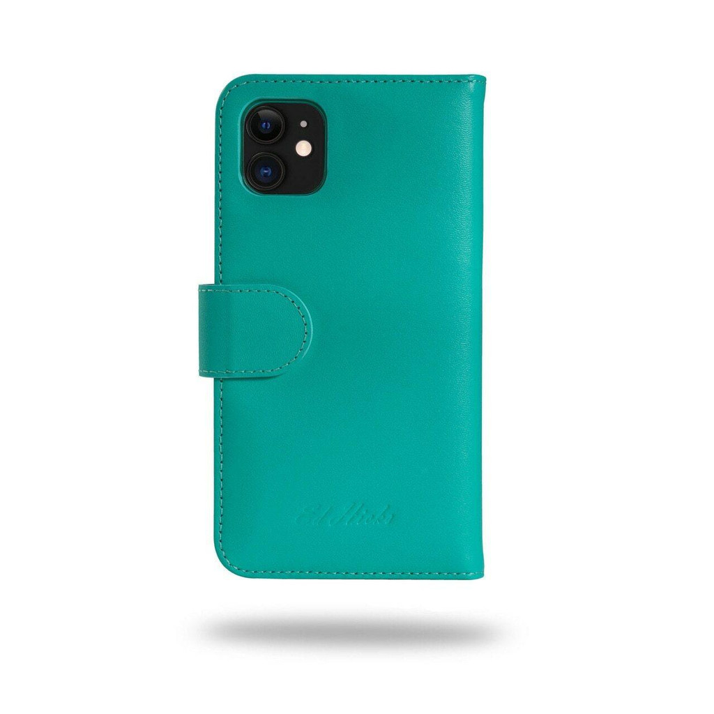 iPhone 12 Pro Wallet Phone Case - Premium Real Leather - Turquoise Blue