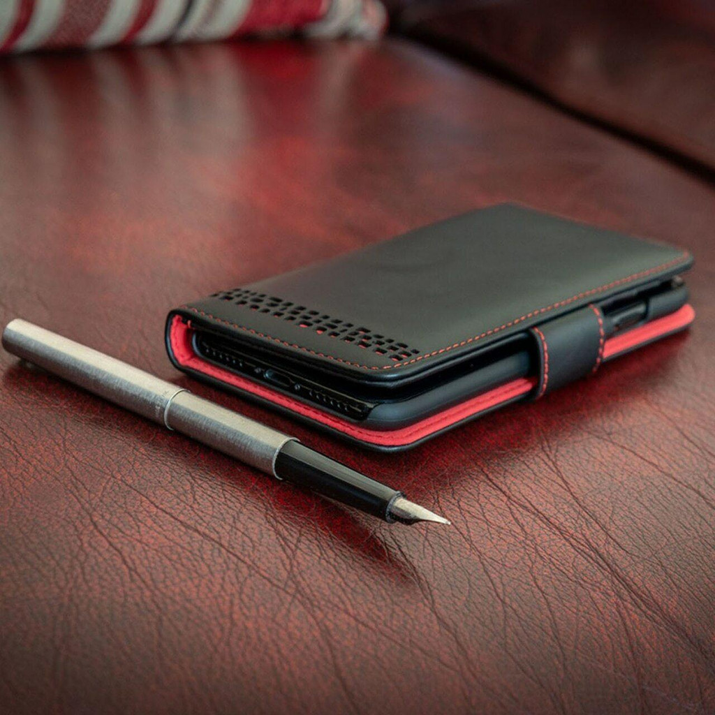 iPhone 12 Pro Max Leather Wallet Case  in black