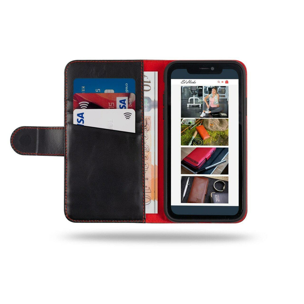 iPhone 12 Pro Max Leather Wallet Case in black and red