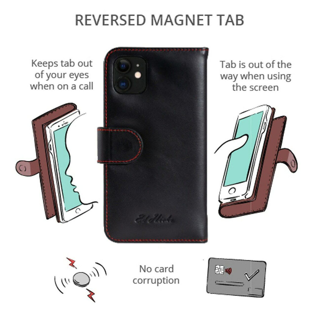 iPhone 12 Pro Max Real Leather Wallet Flip Case Magnetic