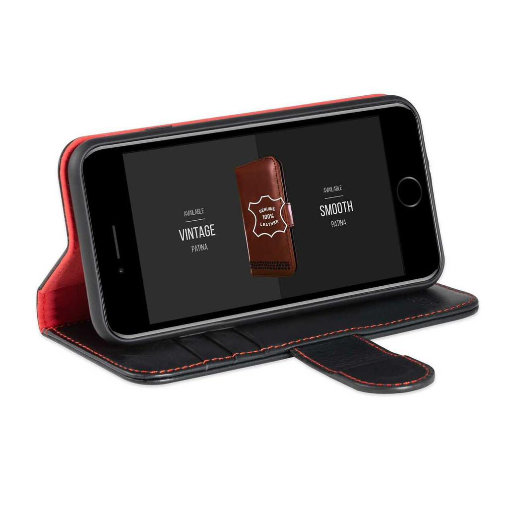 """""""Rila"""" iPhone 6 Plus Wallet Phone Case - Premium Real Leather - Black and Red"""