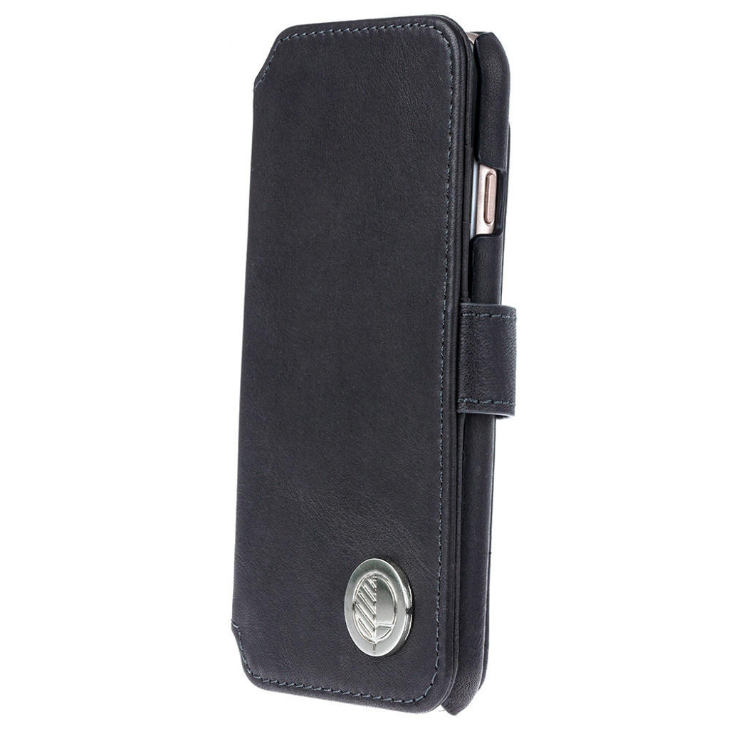 iPhone 7 Leather Wallet Phone Case in Black