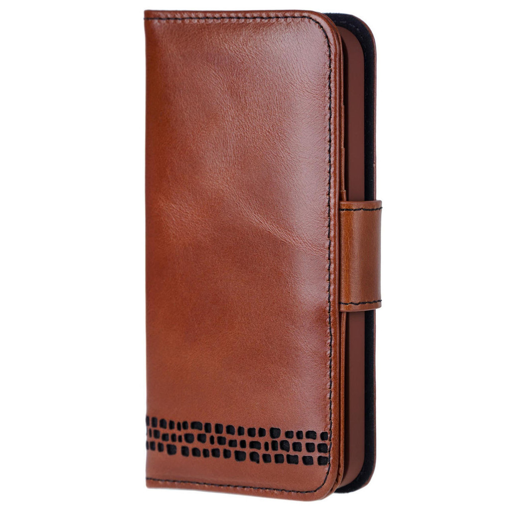 iPhone 13 real Leather Wallet Phone Case in Brown