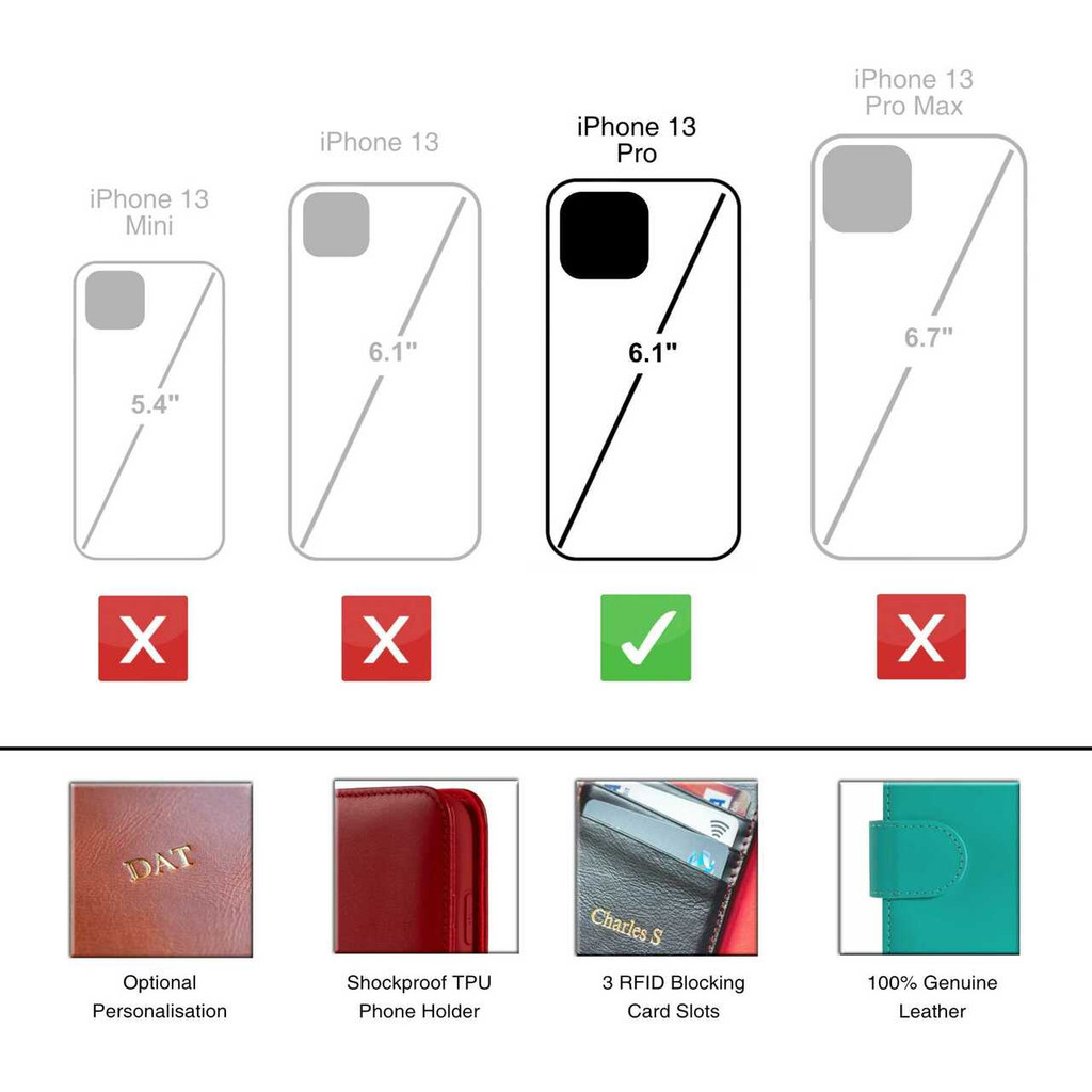 iPhone 13 Pro Leather Wallet Case