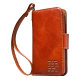 """Royale"" iPhone SE 5 5S (2012-2018) Genuine Leather Wallet Case - Full Cash Pocket - Cognac Brown"