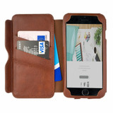 iPhone 7 All Leather Brown Embossed Folio Phone Case