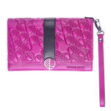 """Drew Lennox's """"Ready"""" Clutch Bag -Purse - Women's Wallet - Hand -Crafted in Soft Fuchsia Pink English Leather - Black Accent. Fashion and Practicality in One!"""