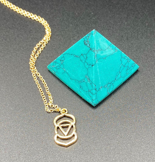 Turquoise Crystal, Geometric Symbol of the Third Eye Chakra. Meditation Pendant in Silver or Gold