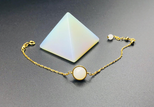 Opalite Crystal, alleviate depression and anxiety, Moonstone Crystal Bracelet, New Beginnings, Full Moon charm with 9 carat Gold plated