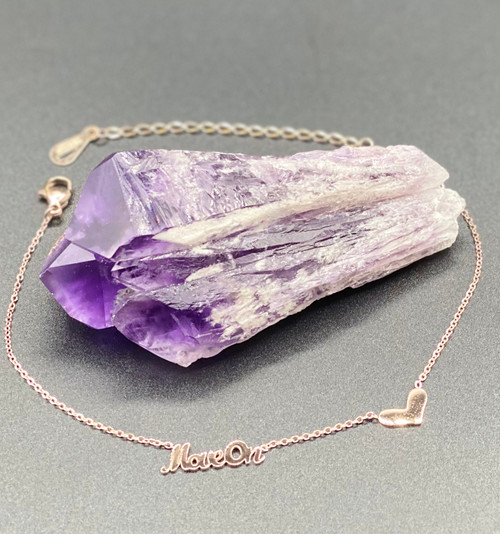 Amethyst Laser Point Crystal, Move On Anklet, Gold Plated
