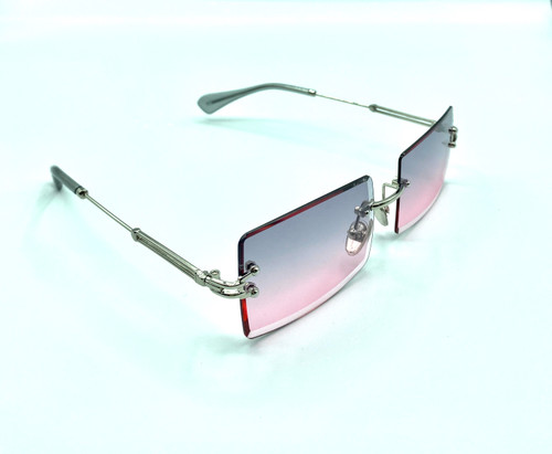 On trend women's fashion pink/grey, silver, rimless,  sunglasses with UV 400 protection
