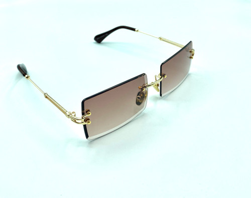 On trend purple coffee rimless women's fashion sunglasses with UV 400 protection