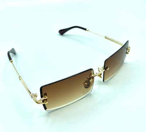 2020 On Trend Gold Tea Rimless  Women's Fashion Sunglasses with UV 400 protection