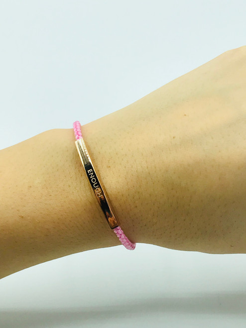 24 carat rose gold plated soft pink rope bracelet. With 24 carat rose gold plated extendable clasps.