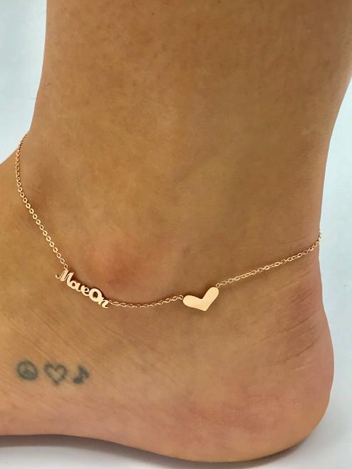 18 carat rose gold plated anklet.