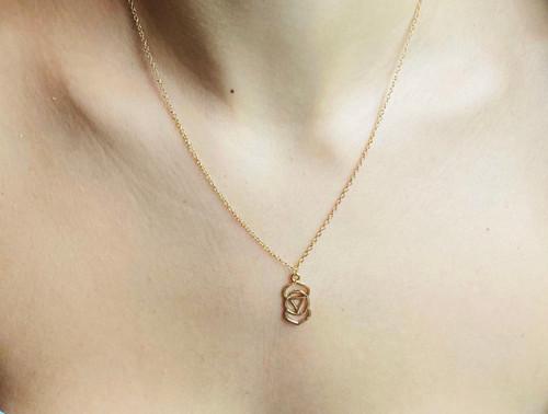 Geometric Symbol of the Third Eye Chakra. Meditation Pendant Gold plated necklace