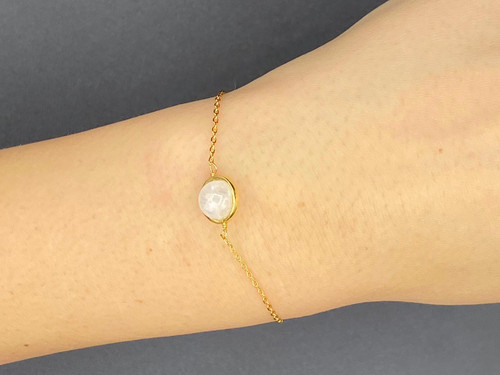 White Moonstone 9 carat gold plated bracelet