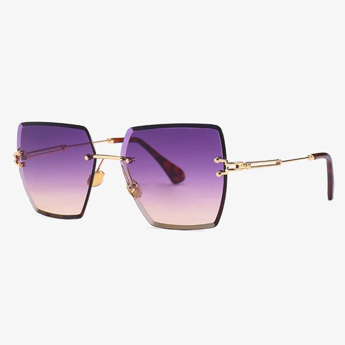 Luxury oversized rimless square sunglasses in Amethyst gradient colour lens. UV 400