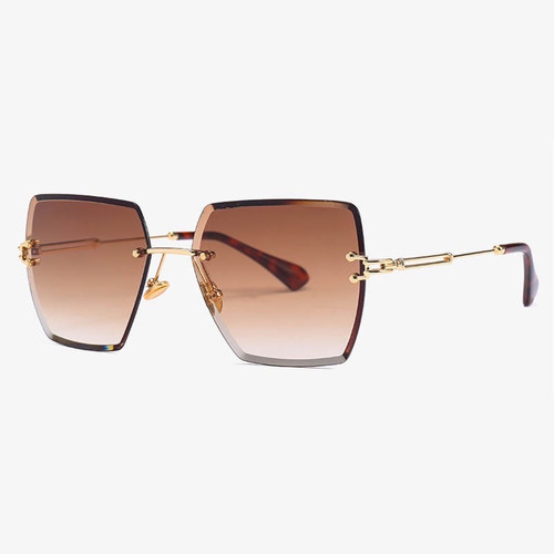 Luxury oversized rimless square sunglasses in Gold Tea gradient colour lens. UV 400