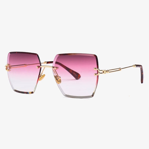 Luxury oversized rimless square sunglasses in Raspberry gradient colour lens. UV 400