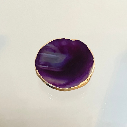 Amethyst Crystal Agate Slice with Gold Edge Phone Stand/Grip with Rose Gold Socket. Size and colour may vary.