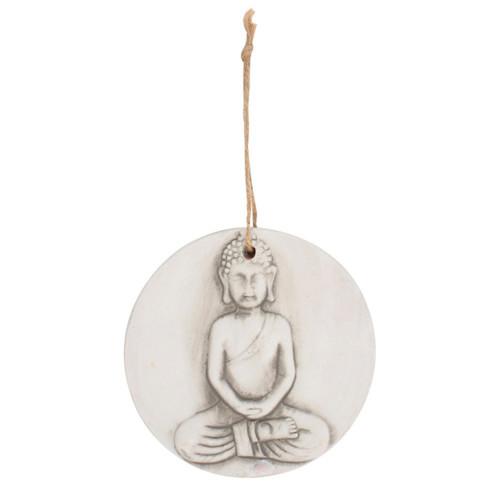 Small round terracotta Buddha plaque.