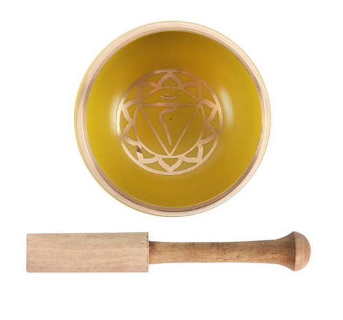 Solar Plexus Singing Bowl with cushion and mallet.