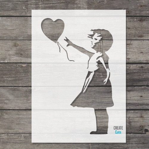 Banksy Girl and Heart Balloon stencil