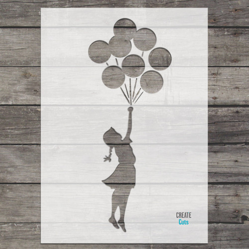 Banksy Flying Girl and balloons stencil
