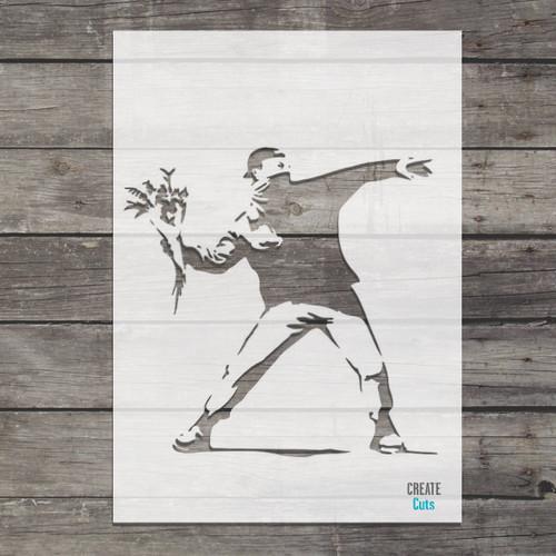 Banksy Flower Chucker famous street art stencil
