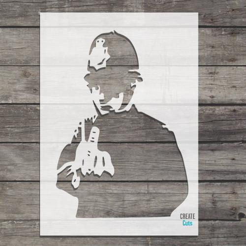 Banksy Rude Cop stencil street art / policemen showing finger