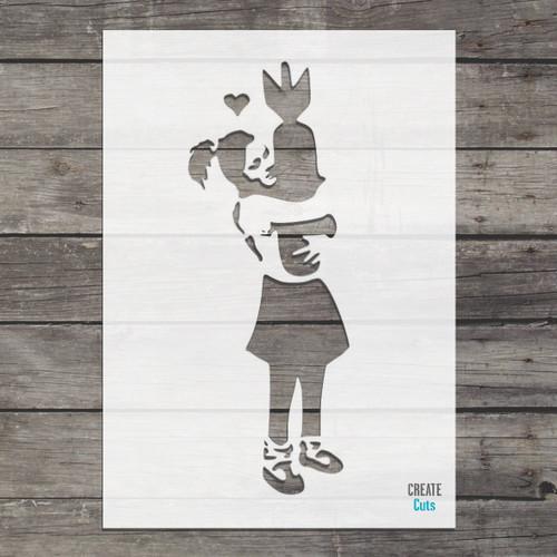 Banksy Bomb Hugger Girl stencil