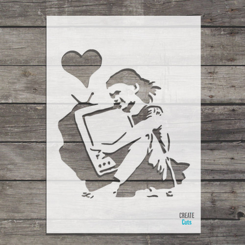 Banksy Girl hugging TV stencil / Banksy the end template