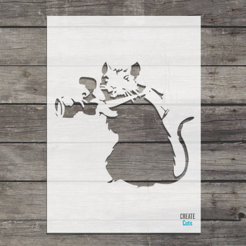 Banksy Camera Rat Stencil street art cheap stencils create cuts template graffiti stencil