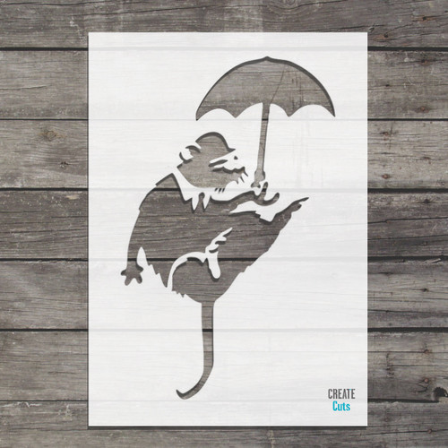 Banksy Umbrella Rat Stencil street art cheap stencils create cuts template graffiti stencil