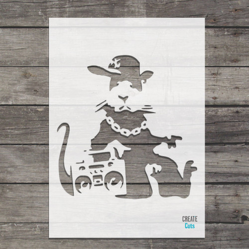 Banksy Gangsta Music Rat Stencil street art cheap stencils create cuts template graffiti stencil