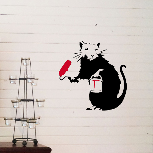 Banksy Painting Rat Stencil street art cheap stencils create cuts template graffiti stencil