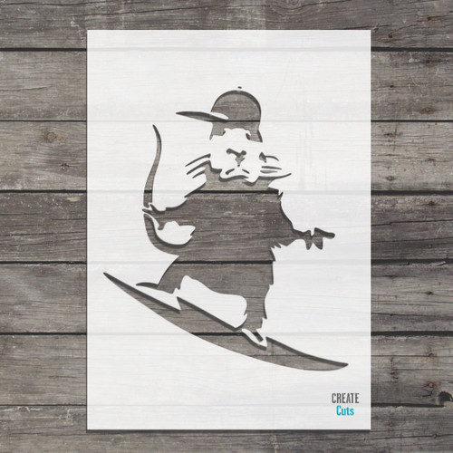 Banksy Surfing Rat Stencil street art cheap stencils create cuts template graffiti stencil