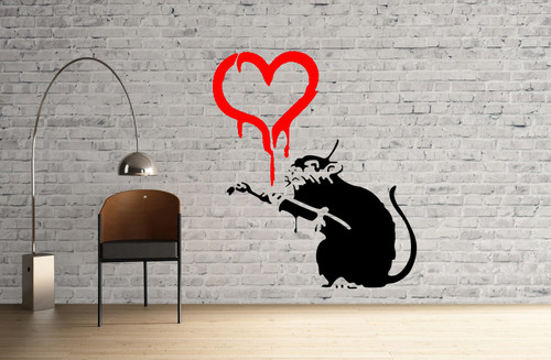 Banksy Love Rat with paintbrush Rat Stencil street art cheap stencils create cuts template graffiti stencil