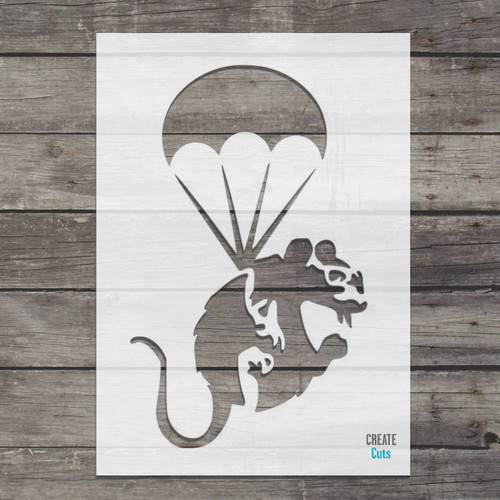 Banksy Flying with Parachute Rat with paintbrush Rat Stencil street art cheap stencils create cuts template graffiti stencil
