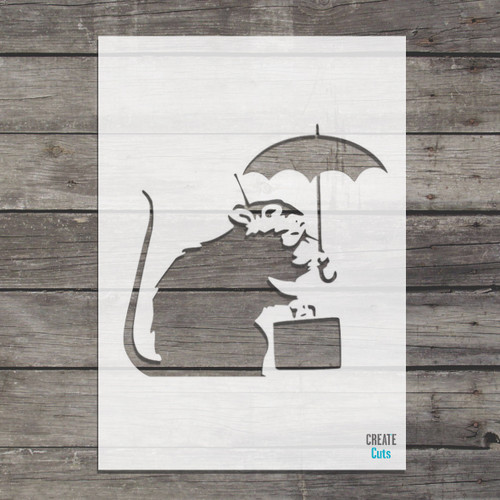 Banksy Umbrella Rat holding suitcase Rat Stencil street art cheap stencils create cuts template graffiti stencil Banksy in Tokyo
