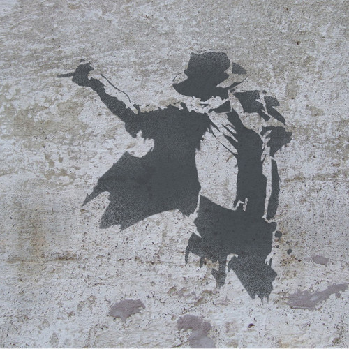 Michael Jackson stencil sprayed on the wall