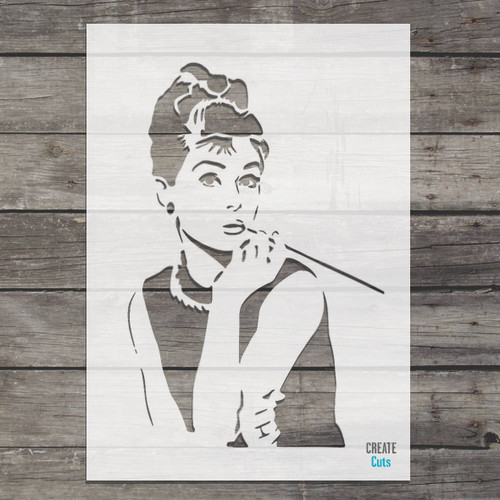 Audrey Hepburn stencil Breakfast at Tiffany's iconic picture template