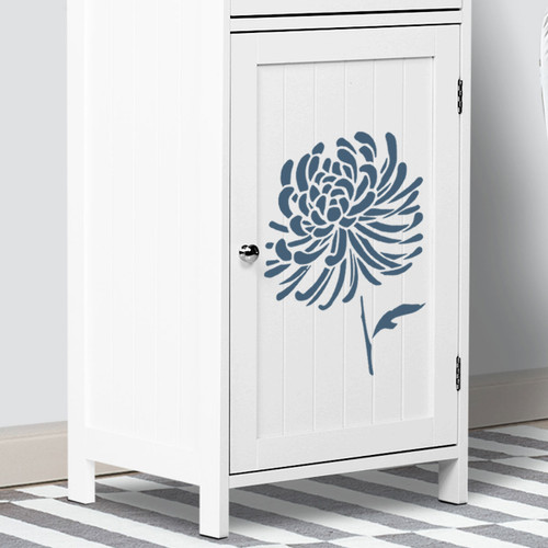 Chrysanthemum Flower Stencil Cabinet makeover